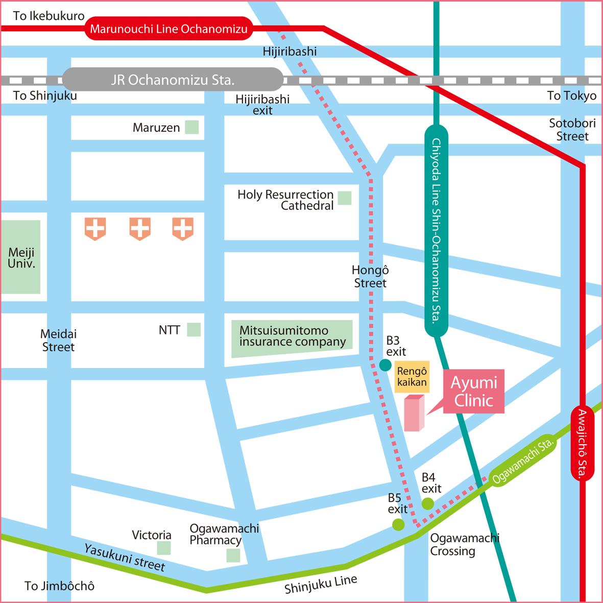Ayumi Clinic Access map